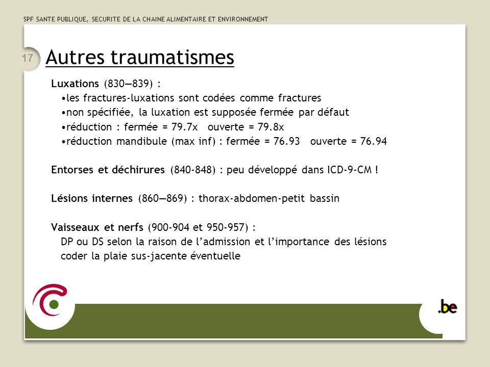 SPF SANTE PUBLIQUE, SECURITE DE LA CHAINE ALIMENTAIRE ET ENVIRONNEMENT 17 Autres traumatismes Luxations (830839) : les fractures-luxations sont codées