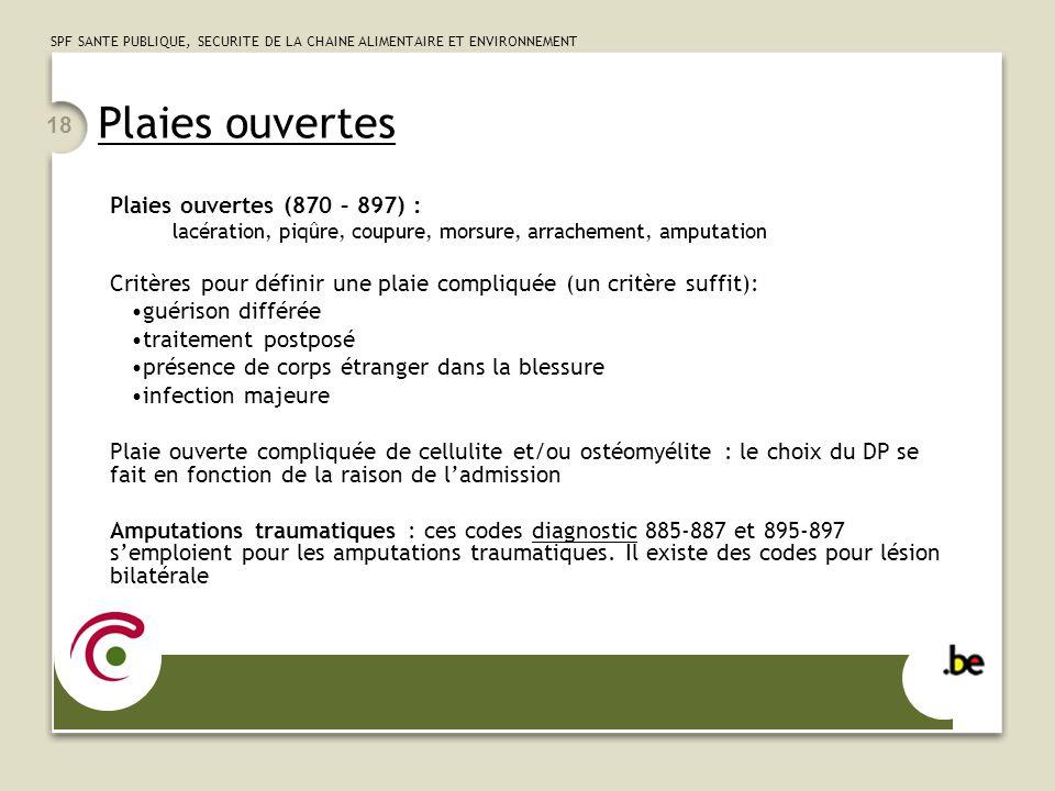 SPF SANTE PUBLIQUE, SECURITE DE LA CHAINE ALIMENTAIRE ET ENVIRONNEMENT 18 Plaies ouvertes Plaies ouvertes (870 – 897) : lacération, piqûre, coupure, m