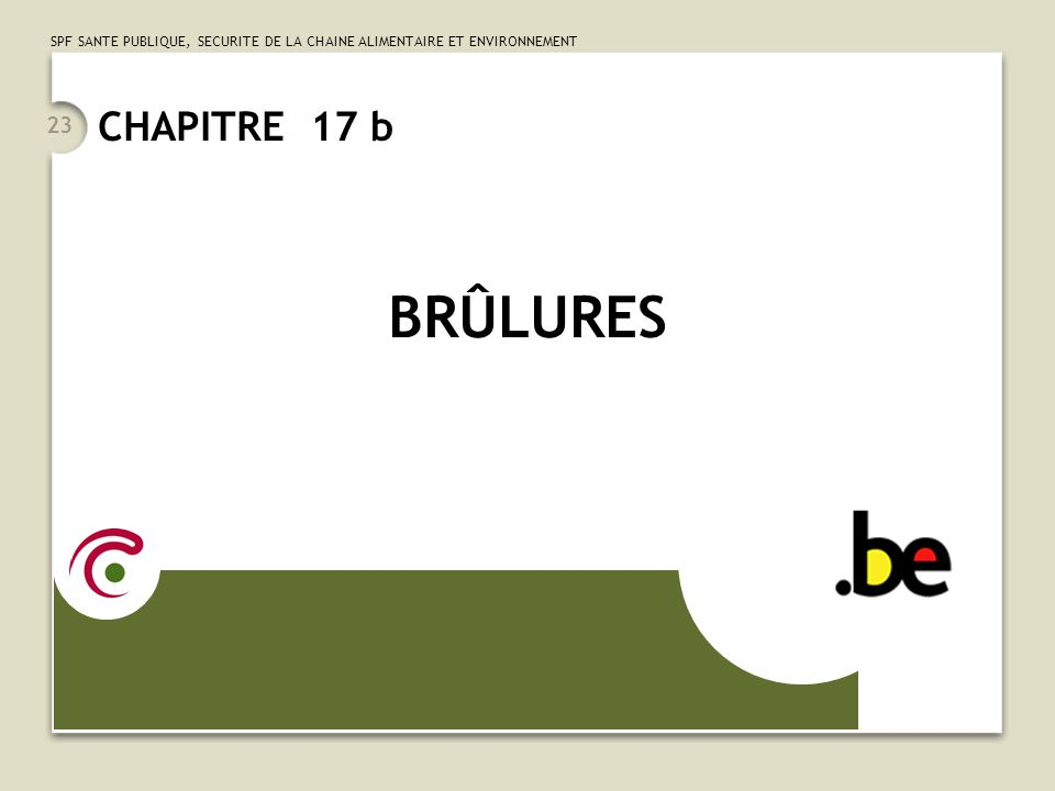 SPF SANTE PUBLIQUE, SECURITE DE LA CHAINE ALIMENTAIRE ET ENVIRONNEMENT 23 CHAPITRE 17 b BRÛLURES