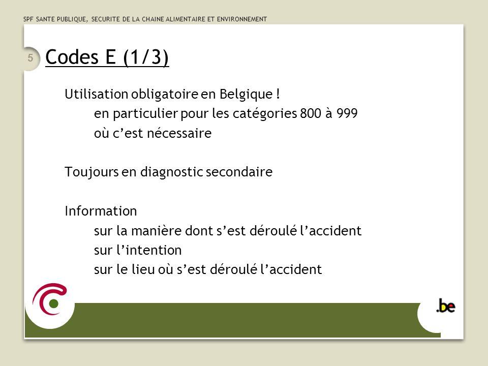 SPF SANTE PUBLIQUE, SECURITE DE LA CHAINE ALIMENTAIRE ET ENVIRONNEMENT 5 Codes E (1/3) Utilisation obligatoire en Belgique ! en particulier pour les c