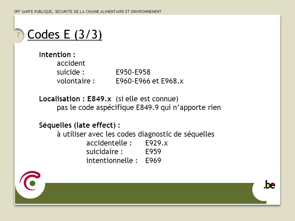 SPF SANTE PUBLIQUE, SECURITE DE LA CHAINE ALIMENTAIRE ET ENVIRONNEMENT 7 Codes E (3/3) Intention : accident suicide :E950-E958 volontaire :E960-E966 e