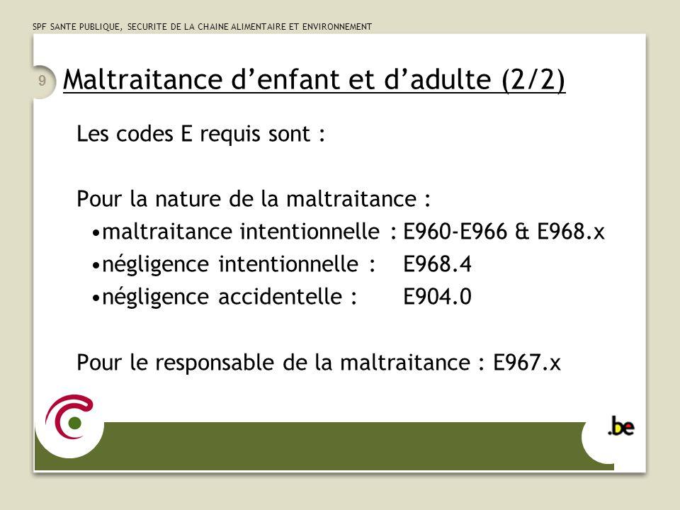 SPF SANTE PUBLIQUE, SECURITE DE LA CHAINE ALIMENTAIRE ET ENVIRONNEMENT 9 Maltraitance denfant et dadulte (2/2) Les codes E requis sont : Pour la natur