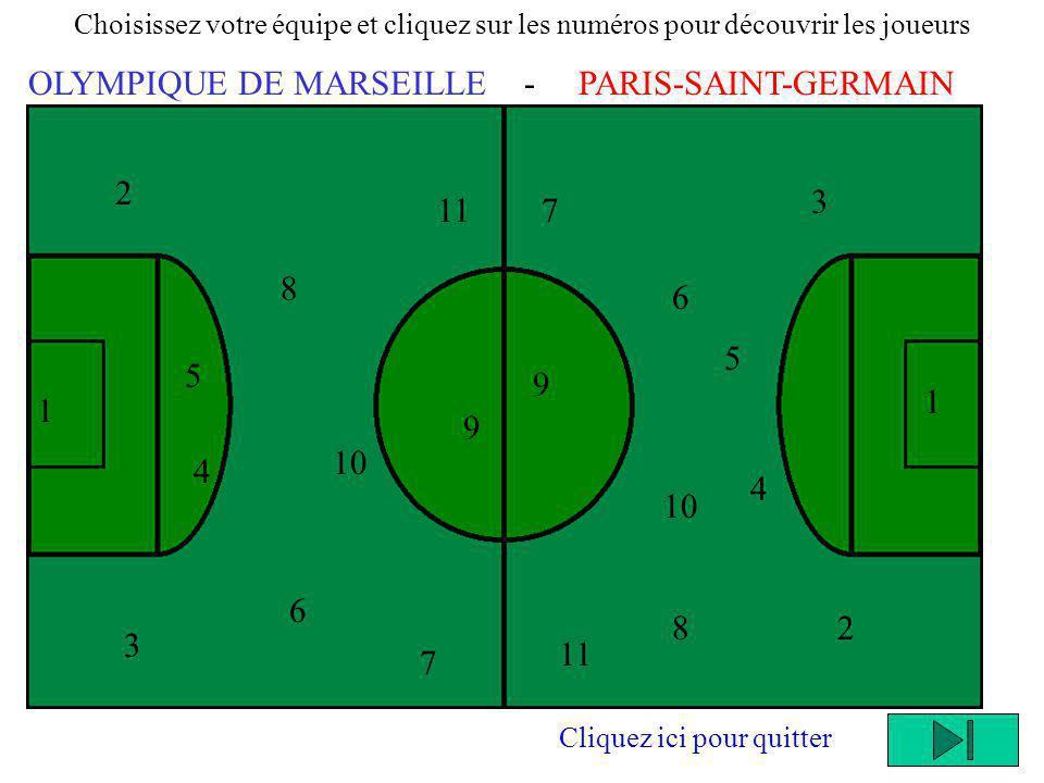 1 2 Choisissez votre équipe et cliquez sur les numéros pour découvrir les joueurs OLYMPIQUE DE MARSEILLE - PARIS-SAINT-GERMAIN 5 4 3 8 10 6 11 9 7 1 2 3 4 5 8 6 10 11 9 7 Cliquez ici pour quitter