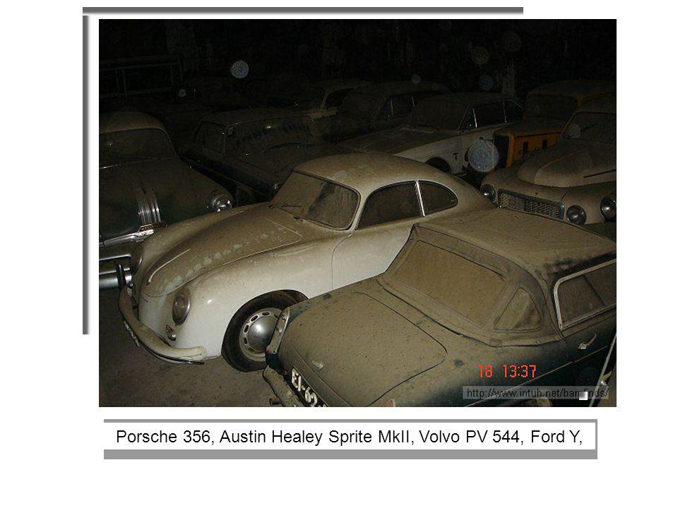Porsche 356, Austin Healey Sprite MkII, Volvo PV 544, Ford Y,