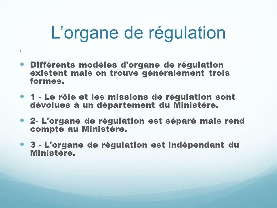 Lorgane de régulation Différents modèles d'organe de régulation existent mais on trouve généralement trois formes. 1 - Le rôle et les missions de régu