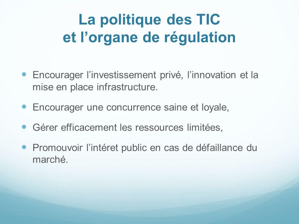 La politique des TIC et lorgane de régulation Encourager linvestissement privé, linnovation et la mise en place infrastructure. Encourager une concurr