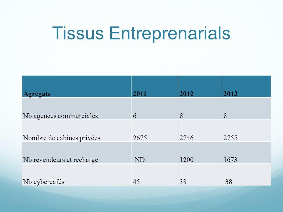Tissus Entreprenarials Agrégats201120122013 Nb agences commerciales688 Nombre de cabines privées267527462755 Nb revendeurs ct recharge ND12001673 Nb cybercafés4538