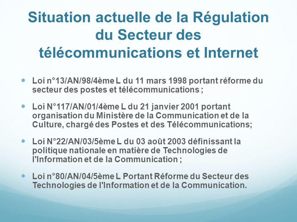 Situation actuelle de la Régulation du Secteur des télécommunications et Internet Loi n°13/AN/98/4ème L du 11 mars 1998 portant réforme du secteur des postes et télécommunications ; Loi N°117/AN/01/4ème L du 21 janvier 2001 portant organisation du Ministère de la Communication et de la Culture, chargé des Postes et des Télécommunications; Loi N°22/AN/03/5ème L du 03 août 2003 définissant la politique nationale en matière de Technologies de l Information et de la Communication ; Loi n°80/AN/04/5ème L Portant Réforme du Secteur des Technologies de l Information et de la Communication.