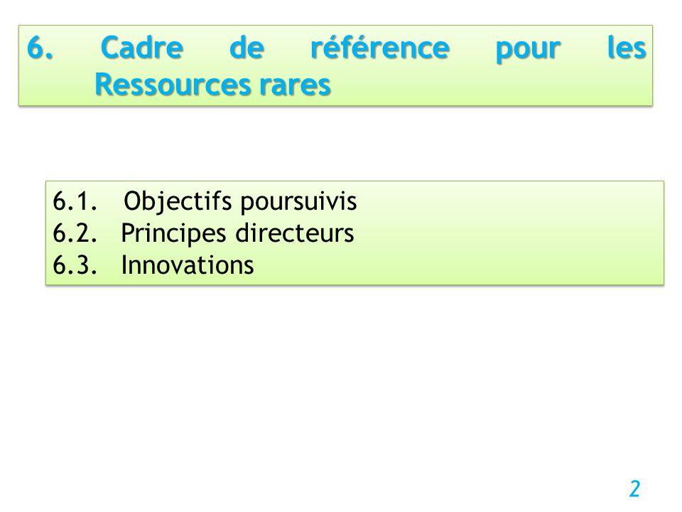 6.1. Objectifs poursuivis 6.2. Principes directeurs 6.3. Innovations 6.1. Objectifs poursuivis 6.2. Principes directeurs 6.3. Innovations 2 6. Cadre d