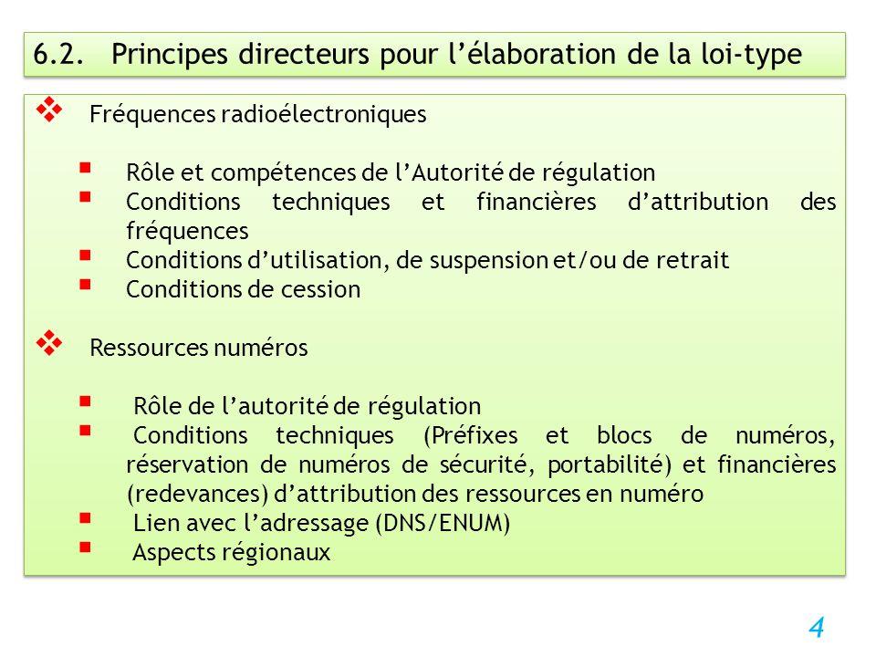 4 6.2. Principes directeurs pour lélaboration de la loi-type Fréquences radioélectroniques Rôle et compétences de lAutorité de régulation Conditions t