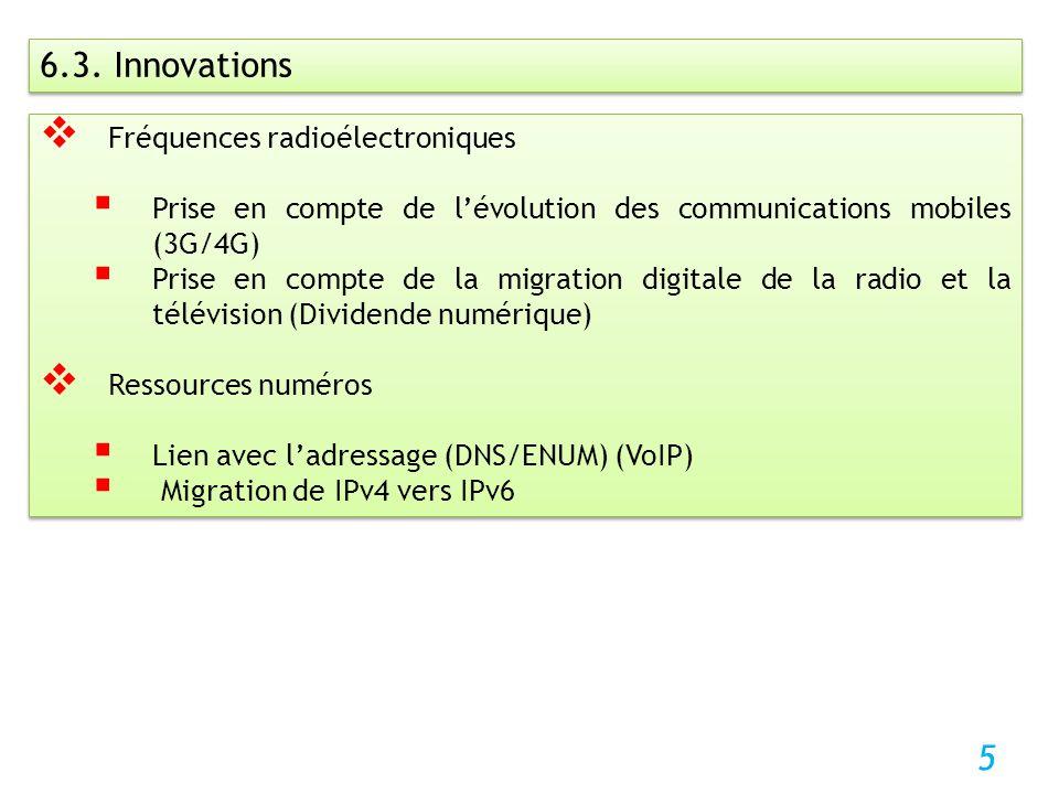 5 6.3. Innovations Fréquences radioélectroniques Prise en compte de lévolution des communications mobiles (3G/4G) Prise en compte de la migration digi