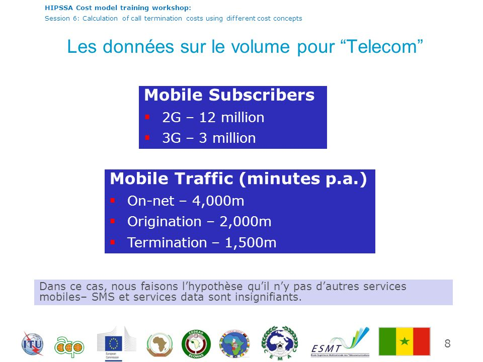 HIPSSA Cost model training workshop: Session 6: Calculation of call termination costs using different cost concepts Les données sur le volume pour Telecom 8 Mobile Subscribers 2G – 12 million 3G – 3 million Mobile Traffic (minutes p.a.) On-net – 4,000m Origination – 2,000m Termination – 1,500m Dans ce cas, nous faisons lhypothèse quil ny pas dautres services mobiles– SMS et services data sont insignifiants.