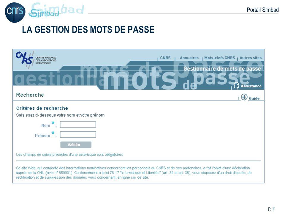 P. 8 LA GESTION DES MOTS DE PASSE