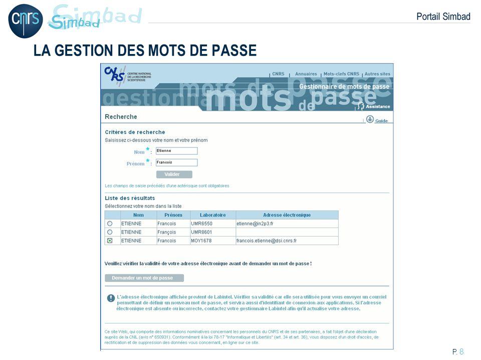 P. 9 LA GESTION DES MOTS DE PASSE