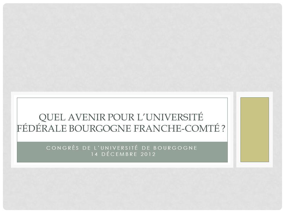CONGRÈS DE LUNIVERSITÉ DE BOURGOGNE 14 DÉCEMBRE 2012 QUEL AVENIR POUR LUNIVERSITÉ FÉDÉRALE BOURGOGNE FRANCHE-COMTÉ ?