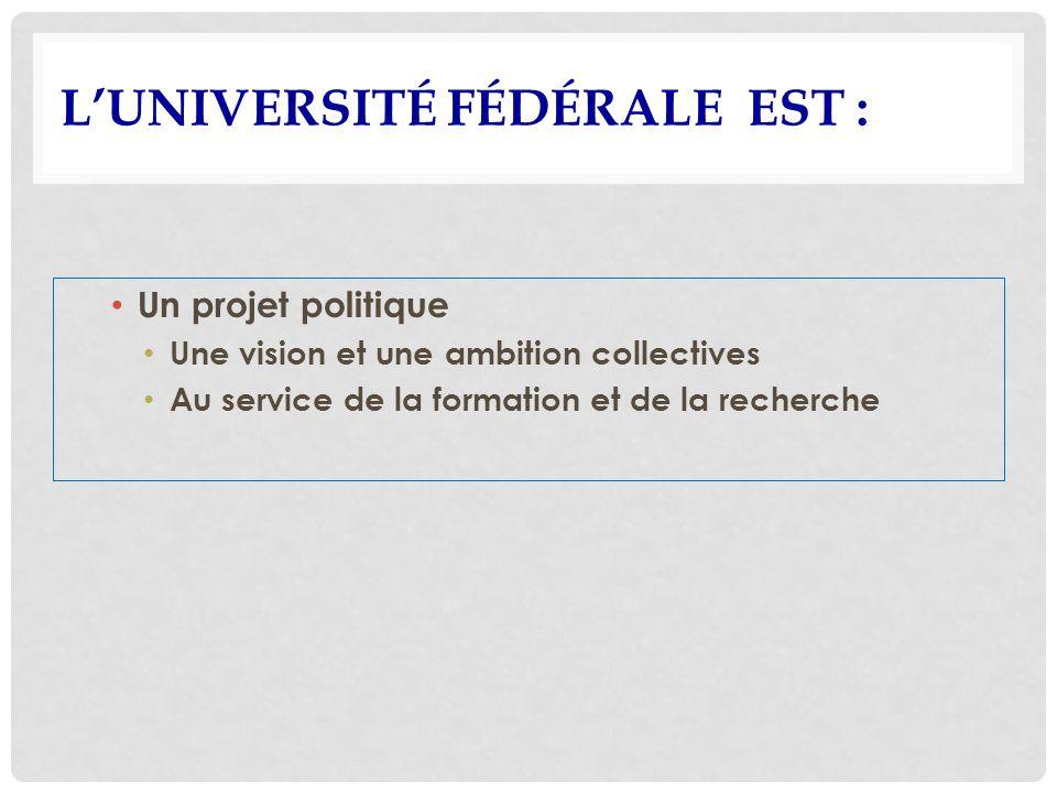 LUNIVERSITÉ FÉDÉRALE EST : Un projet politique Une vision et une ambition collectives Au service de la formation et de la recherche