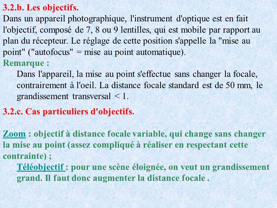 3.2.b. Les objectifs. Dans un appareil photographique, l'instrument d'optique est en fait l'objectif, composé de 7, 8 ou 9 lentilles, qui est mobile p