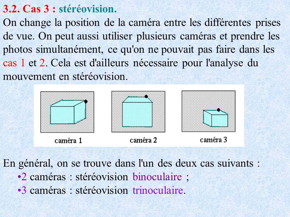 3.2. Cas 3 : stéréovision. On change la position de la caméra entre les différentes prises de vue. On peut aussi utiliser plusieurs caméras et prendre