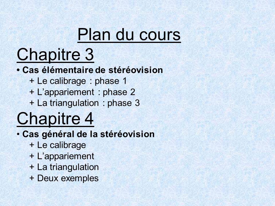 Plan du cours Chapitre 3 Cas élémentaire de stéréovision + Le calibrage : phase 1 + Lappariement : phase 2 + La triangulation : phase 3 Chapitre 4 Cas
