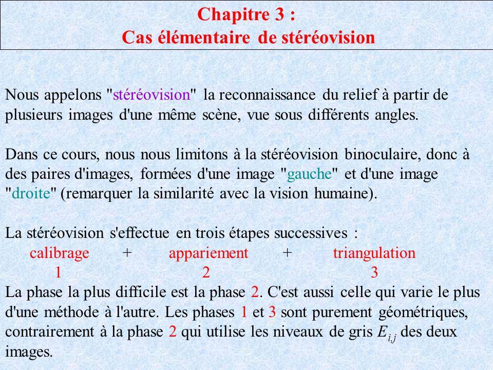 Chapitre 3 : Cas élémentaire de stéréovision Nous appelons