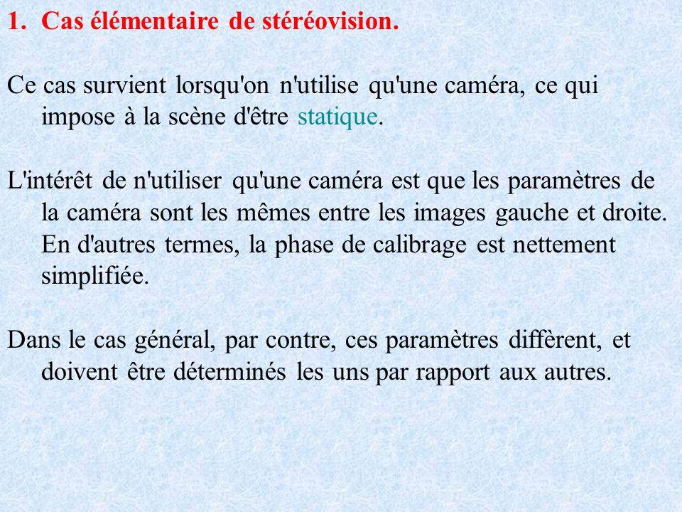 1.Cas élémentaire de stéréovision. Ce cas survient lorsqu'on n'utilise qu'une caméra, ce qui impose à la scène d'être statique. L'intérêt de n'utilise
