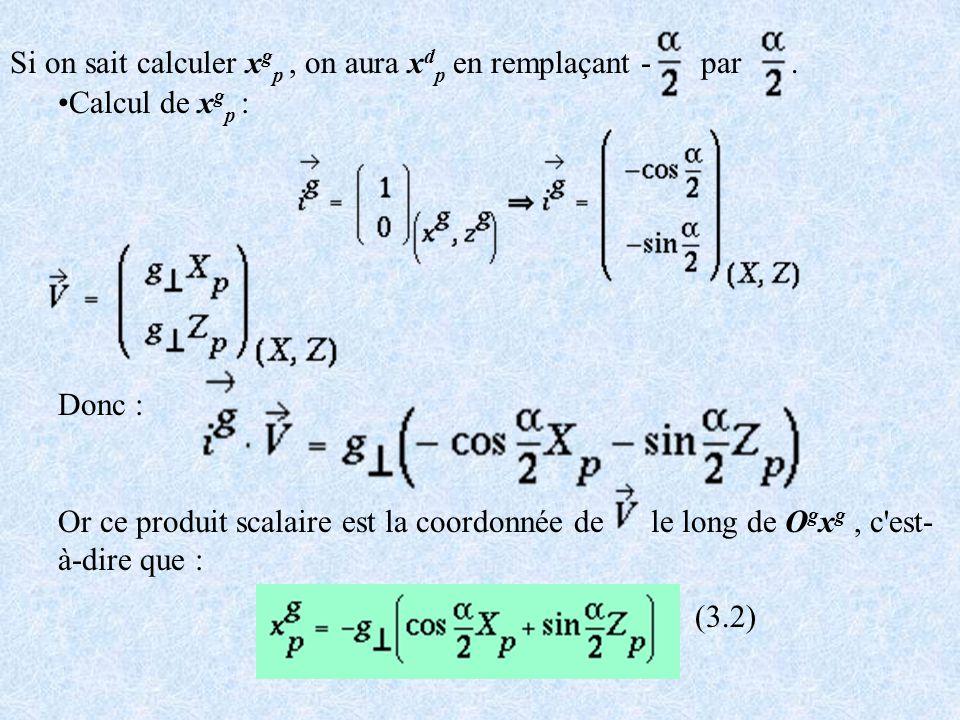 Si on sait calculer x g p, on aura x d p en remplaçant - par. Calcul de x g p : Donc : Or ce produit scalaire est la coordonnée de le long de O g x g,