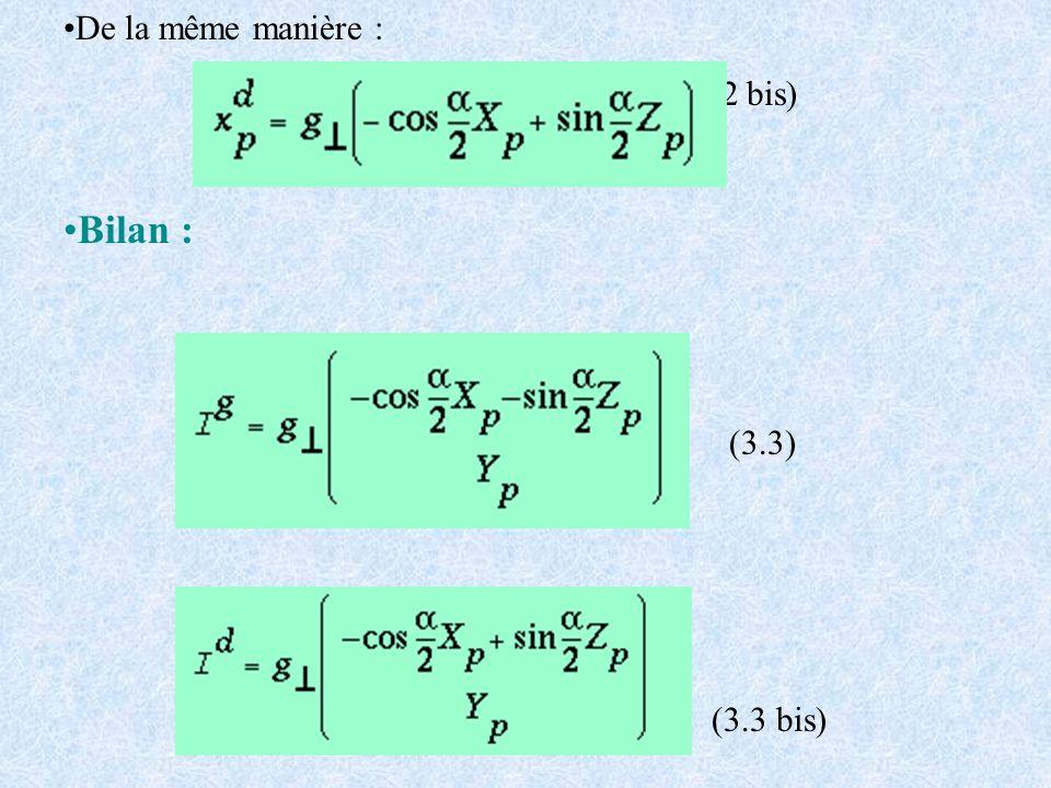 De la même manière : (3.2 bis) Bilan : (3.3) (3.3 bis)