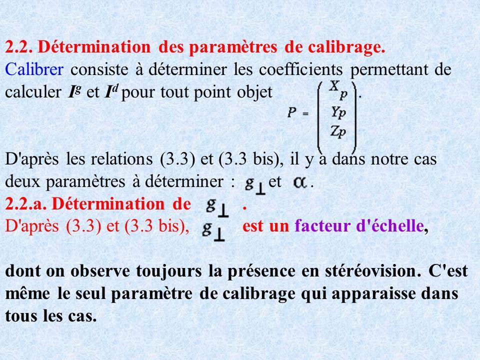 2.2. Détermination des paramètres de calibrage. Calibrer consiste à déterminer les coefficients permettant de calculer I g et I d pour tout point obje