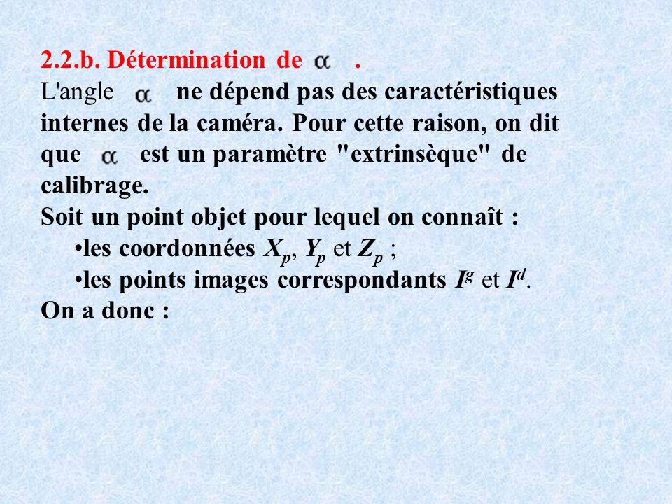 2.2.b. Détermination de. L'angle ne dépend pas des caractéristiques internes de la caméra. Pour cette raison, on dit que est un paramètre