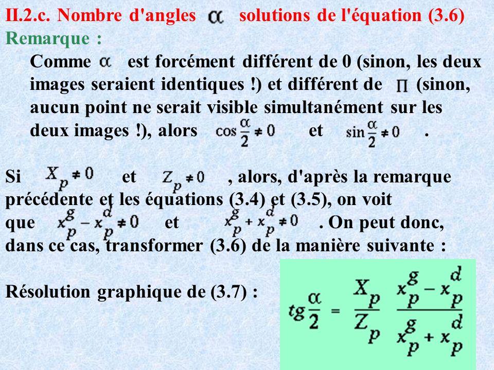 II.2.c. Nombre d'angles solutions de l'équation (3.6) Remarque : Comme est forcément différent de 0 (sinon, les deux images seraient identiques !) et