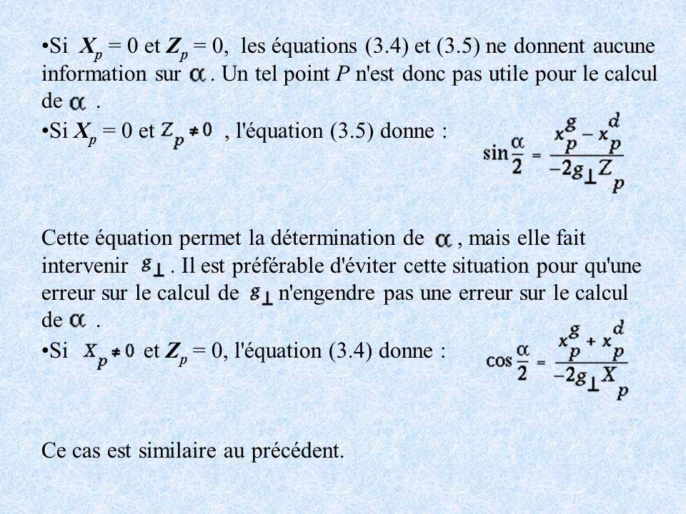 Si X p = 0 et Z p = 0, les équations (3.4) et (3.5) ne donnent aucune information sur. Un tel point P n'est donc pas utile pour le calcul de. Si X p =