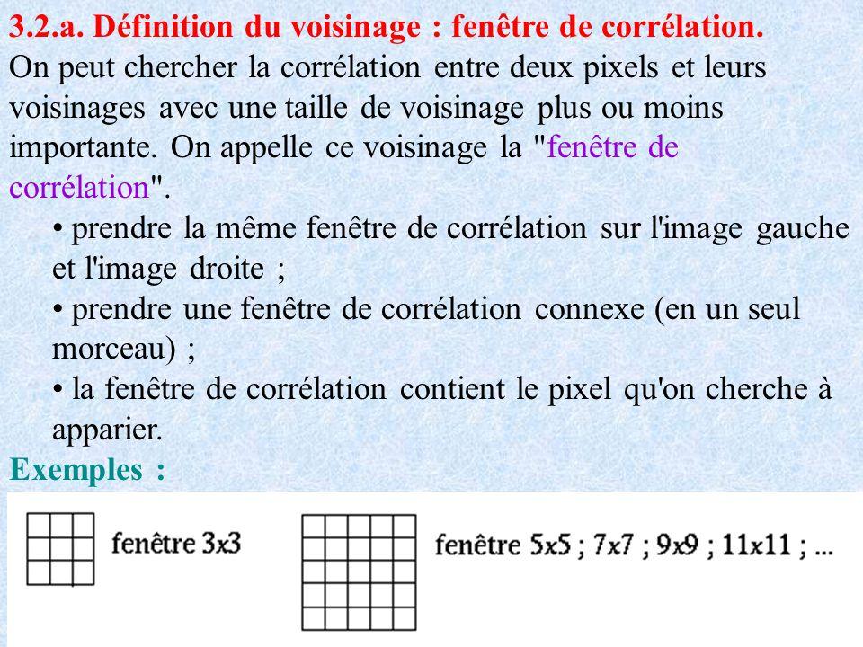3.2.a. Définition du voisinage : fenêtre de corrélation. On peut chercher la corrélation entre deux pixels et leurs voisinages avec une taille de vois