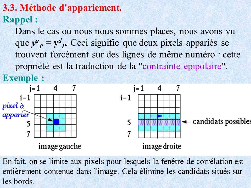 3.3. Méthode d'appariement. Rappel : Dans le cas où nous nous sommes placés, nous avons vu que y g P = y d P. Ceci signifie que deux pixels appariés s