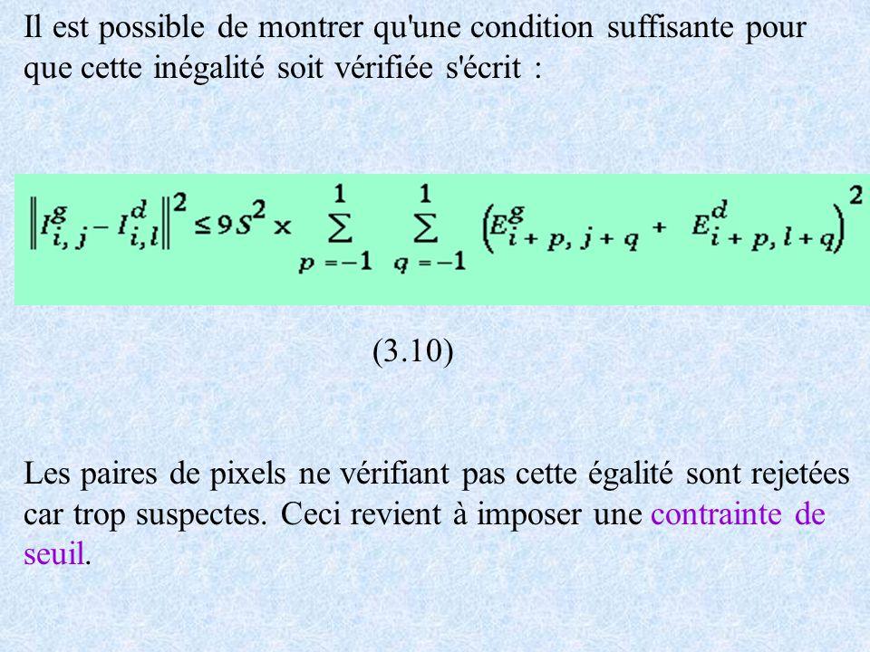 Il est possible de montrer qu'une condition suffisante pour que cette inégalité soit vérifiée s'écrit : (3.10) Les paires de pixels ne vérifiant pas c