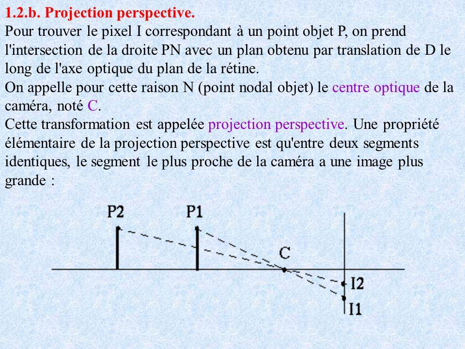 1.2.b. Projection perspective. Pour trouver le pixel I correspondant à un point objet P, on prend l'intersection de la droite PN avec un plan obtenu p