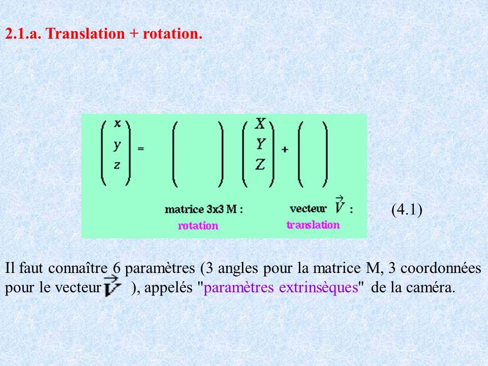 2.1.a. Translation + rotation. (4.1) Il faut connaître 6 paramètres (3 angles pour la matrice M, 3 coordonnées pour le vecteur ), appelés