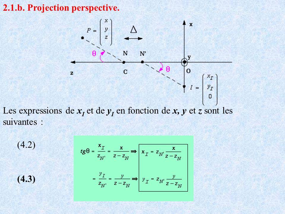 2.1.b. Projection perspective. Les expressions de x I et de y I en fonction de x, y et z sont les suivantes : (4.2) (4.3)