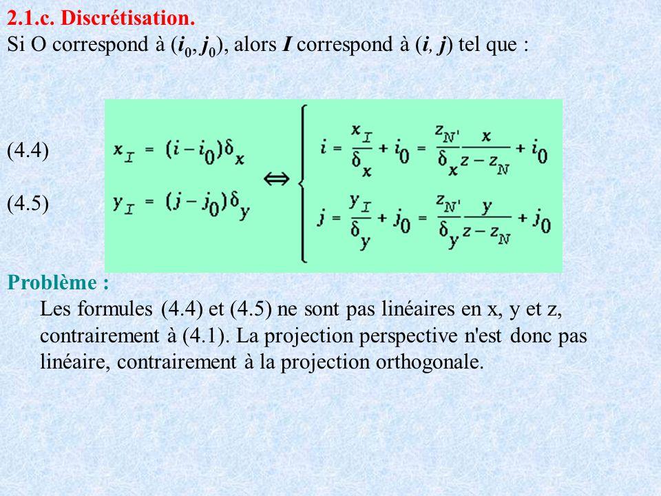 2.1.c. Discrétisation. Si O correspond à (i 0, j 0 ), alors I correspond à (i, j) tel que : (4.4) (4.5) Problème : Les formules (4.4) et (4.5) ne sont