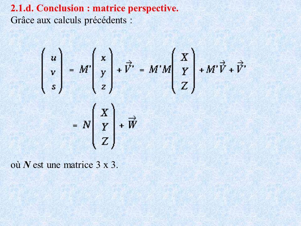 2.1.d. Conclusion : matrice perspective. Grâce aux calculs précédents : où N est une matrice 3 x 3.