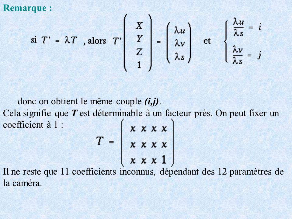 Remarque : donc on obtient le même couple (i,j). Cela signifie que T est déterminable à un facteur près. On peut fixer un coefficient à 1 : Il ne rest