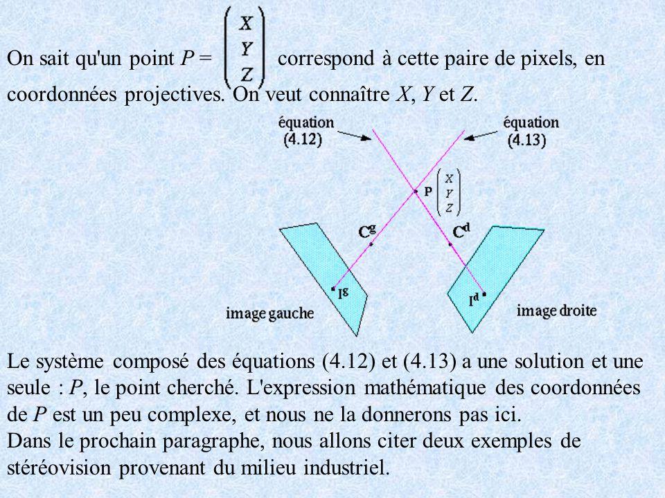 On sait qu'un point P = correspond à cette paire de pixels, en coordonnées projectives. On veut connaître X, Y et Z. Le système composé des équations