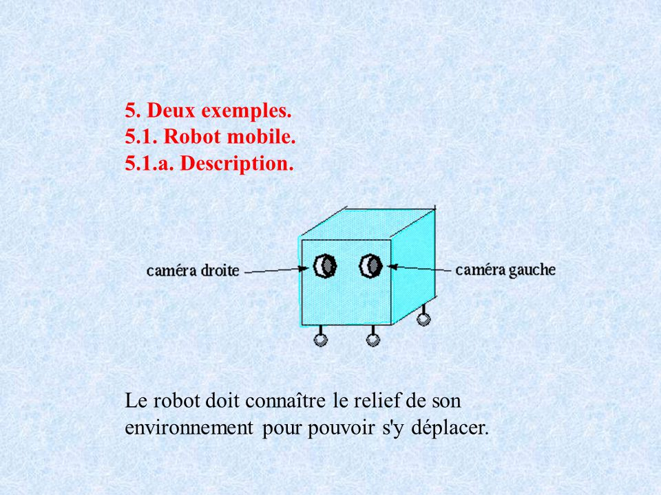 5. Deux exemples. 5.1. Robot mobile. 5.1.a. Description. Le robot doit connaître le relief de son environnement pour pouvoir s'y déplacer.