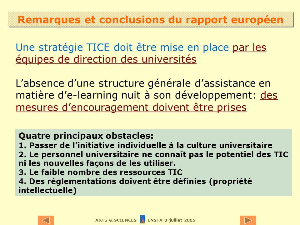 ARTS & SCIENCES ENSTA-8 juillet 2005 Remarques et conclusions du rapport européen Une stratégie TICE doit être mise en place par les équipes de direct