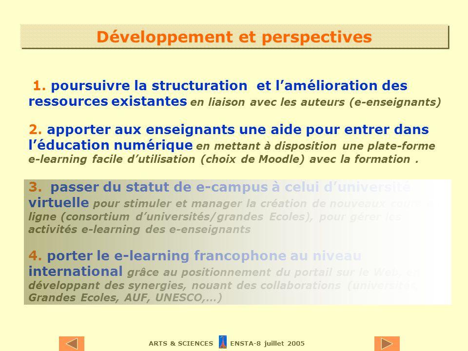 ARTS & SCIENCES ENSTA-8 juillet 2005 Développement et perspectives 1. poursuivre la structuration et lamélioration des ressources existantes en liaiso