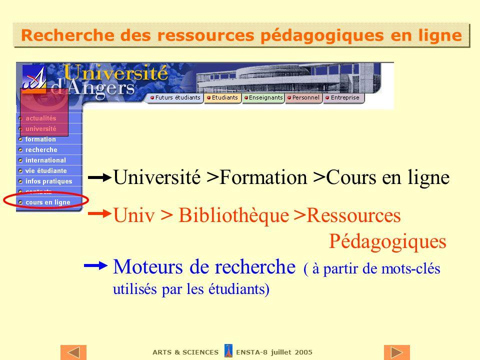ARTS & SCIENCES ENSTA-8 juillet 2005 Recherche des ressources pédagogiques en ligne Université >Formation >Cours en ligne Univ > Bibliothèque >Ressources Pédagogiques Moteurs de recherche ( à partir de mots-clés utilisés par les étudiants)
