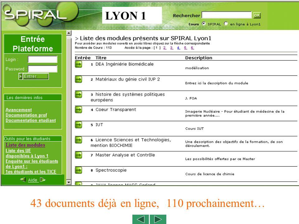 LYON 1 43 documents déjà en ligne, 110 prochainement…