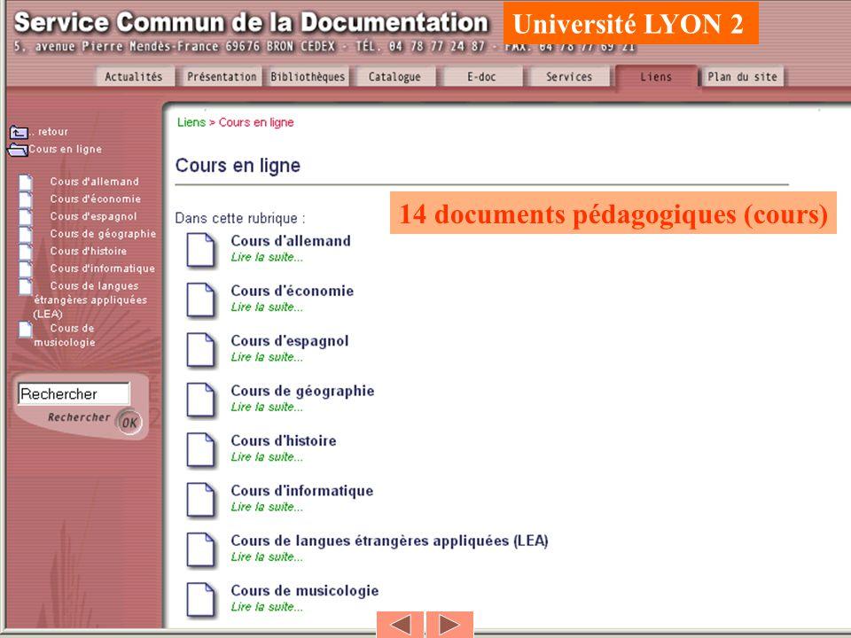 Université LYON 2 14 documents pédagogiques (cours)