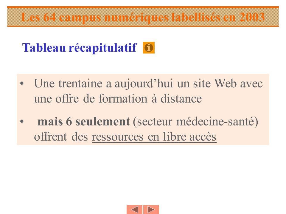 Les 64 campus numériques labellisés en 2003 Une trentaine a aujourdhui un site Web avec une offre de formation à distance mais 6 seulement (secteur médecine-santé) offrent des ressources en libre accès Tableau récapitulatif