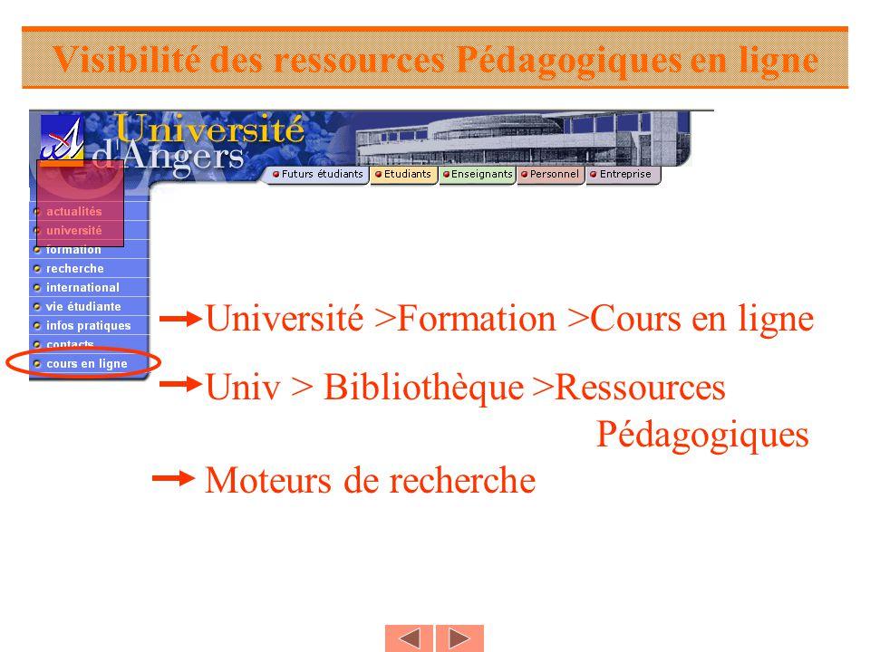 Visibilité des ressources Pédagogiques en ligne Université >Formation >Cours en ligne Univ > Bibliothèque >Ressources Pédagogiques Moteurs de recherche
