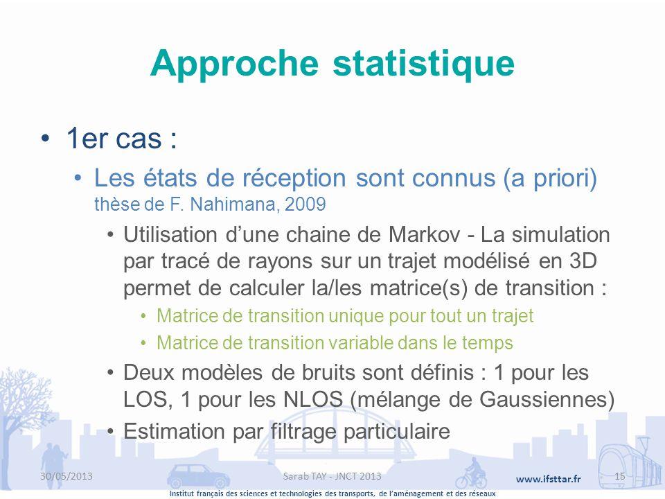 Institut français des sciences et technologies des transports, de laménagement et des réseaux www.ifsttar.fr Approche statistique 1er cas : Les états